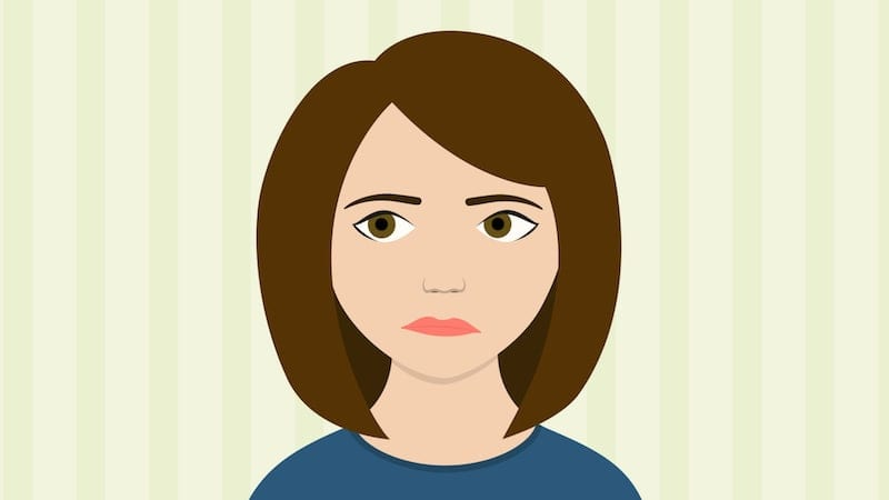 Cartoon woman making a disgusted face because she smells a burning scent coming from her heat pump.