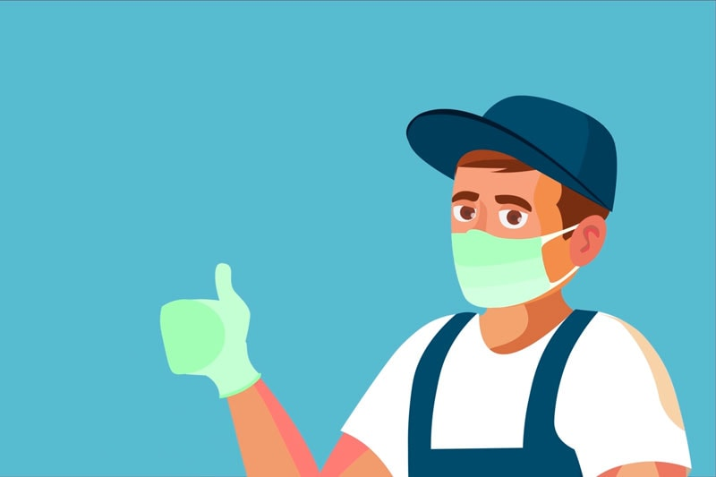 guy wearing a mask and gloves putting giving a thumb up, Video - No-touch Appointments and Other Safety Measure