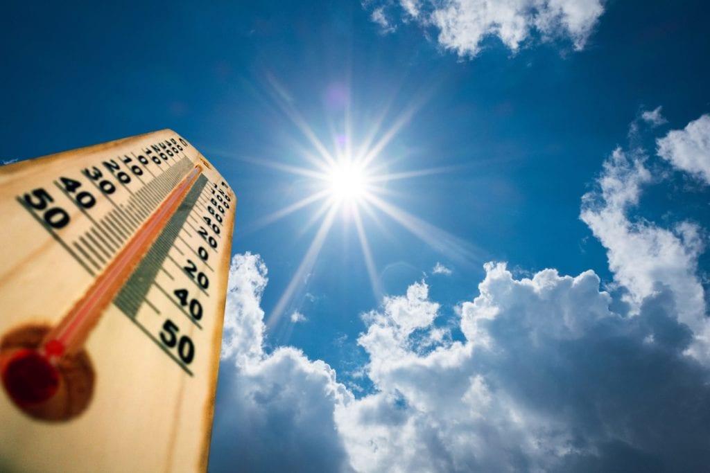 Hot summer day. High Summer temperatures